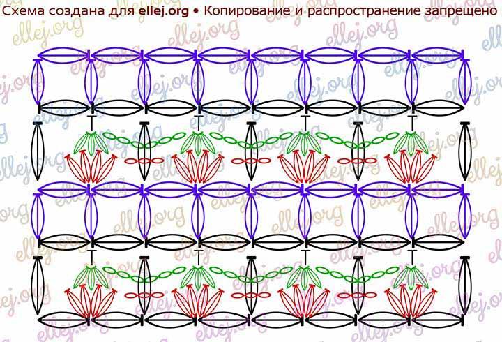 Схема вязания узора Клубнички