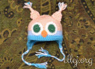 Шапочка-сова для куклы крючком