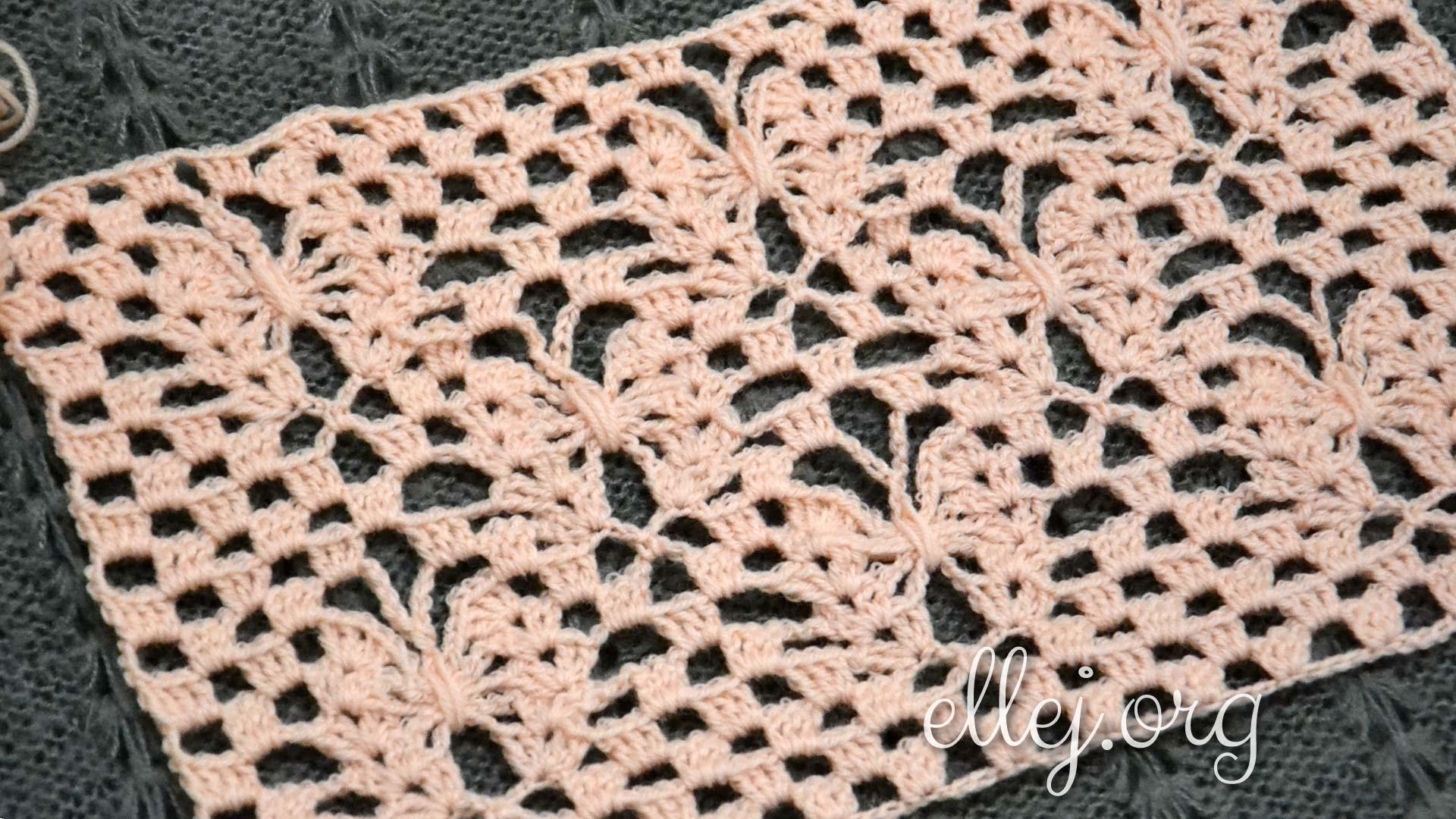 Узор Лунные бабочки, полотно | Вязание крючком от Елены Кожухарь