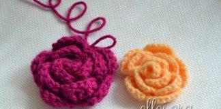 Китайская роза крючком. Объемный цветочек