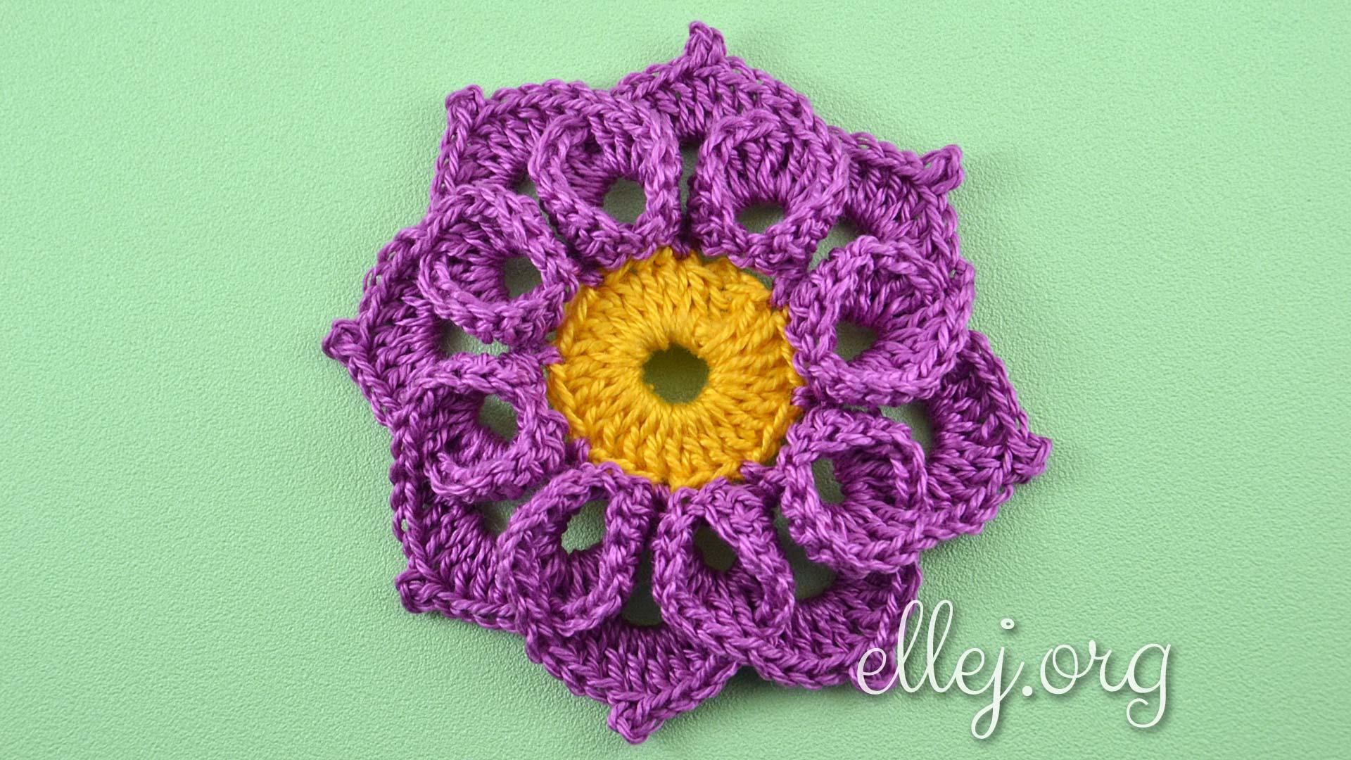 Объемный цветочек с завитушками | Вязание крючком от Елены Кожухарь