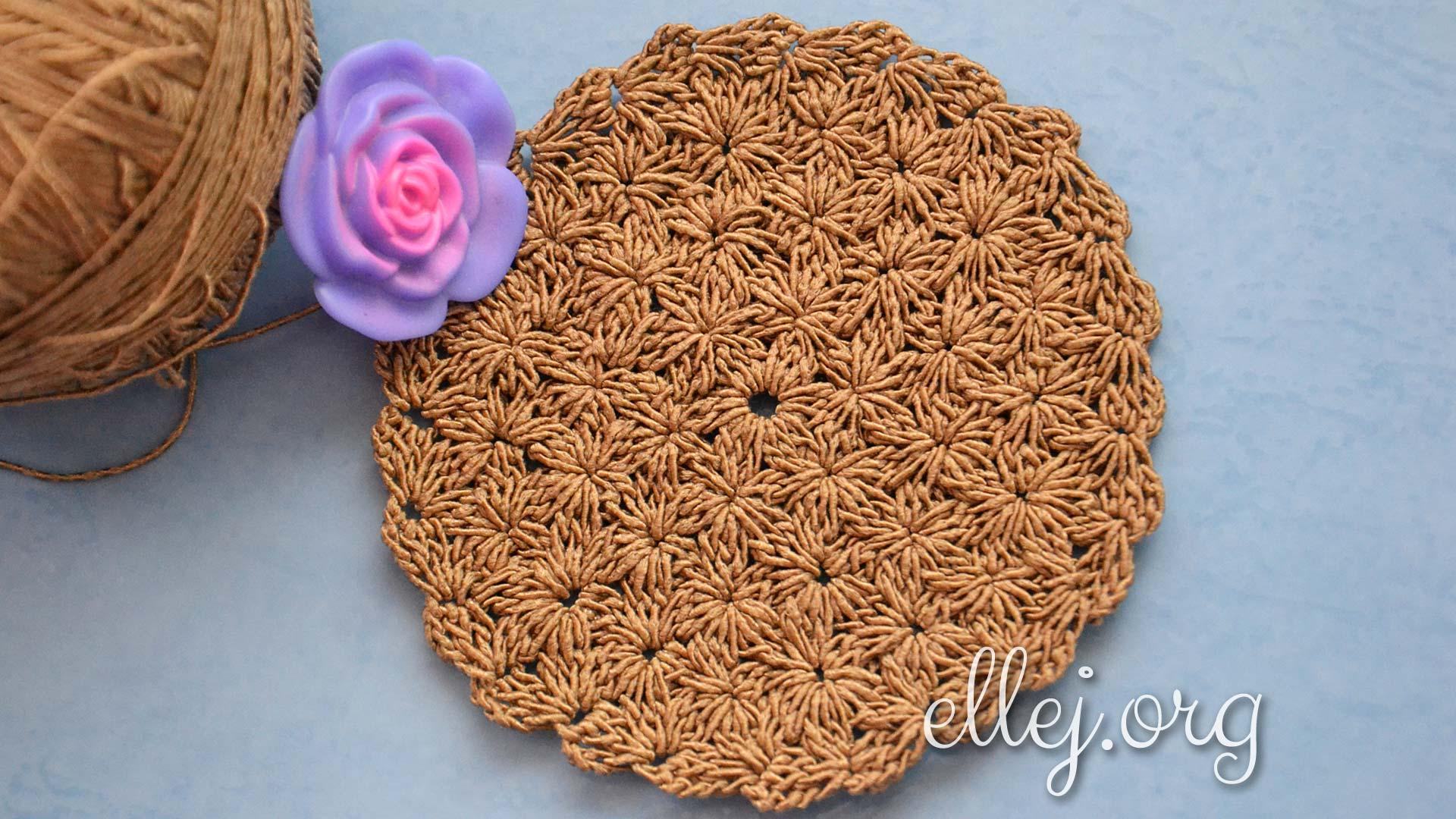 Круг плотным цветочным узором | Вязание крючком от Елены Кожухарь