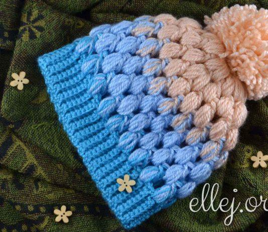 """Scarlet Sky"" Baby Puff Stitch Hat"