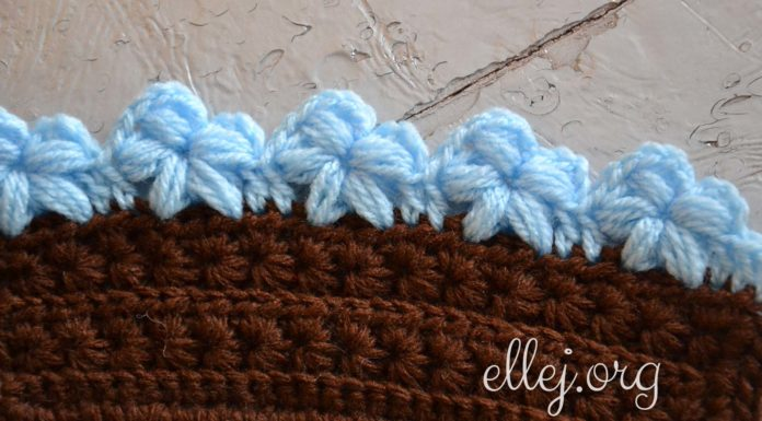 Edging with puff stitch flowers
