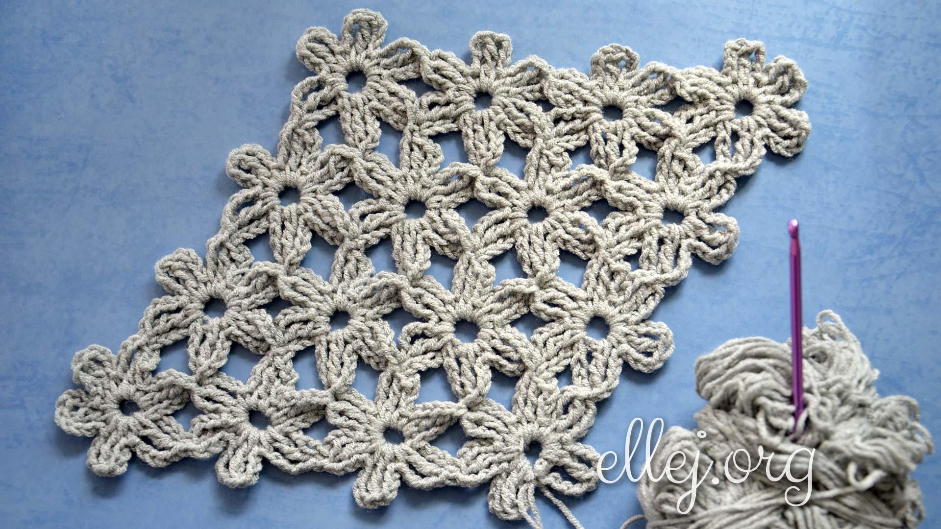 Безотрывное вязание цветочных мотивов | Вязание крючком от Елены Кожухарь