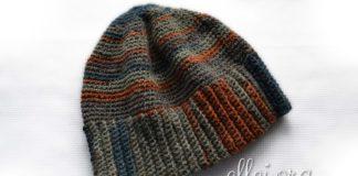 Мужская теплая шапка крючком