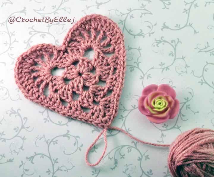 Как связать сердечко крючком на день влюбленных