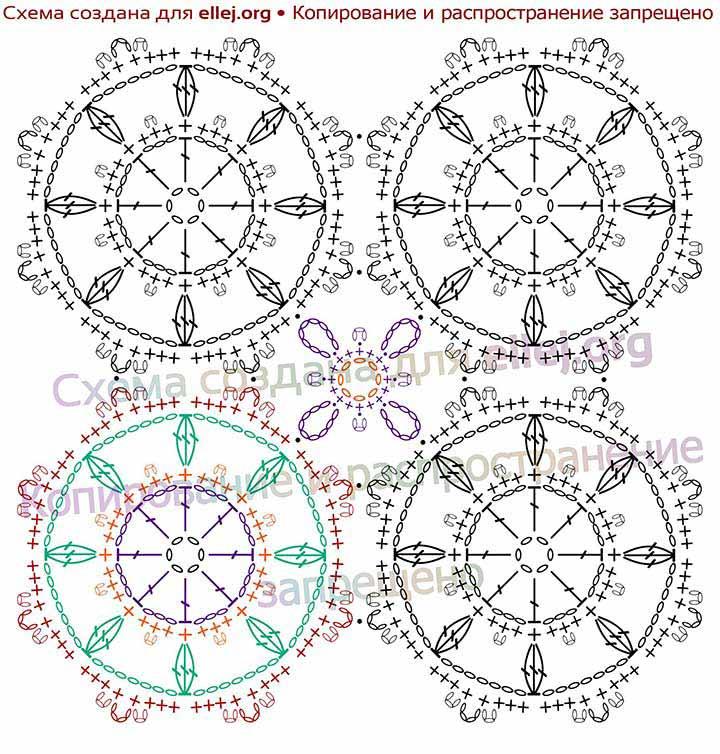 Схема безотрывного вязания восьмиугольных мотивов с помощью дополнительных