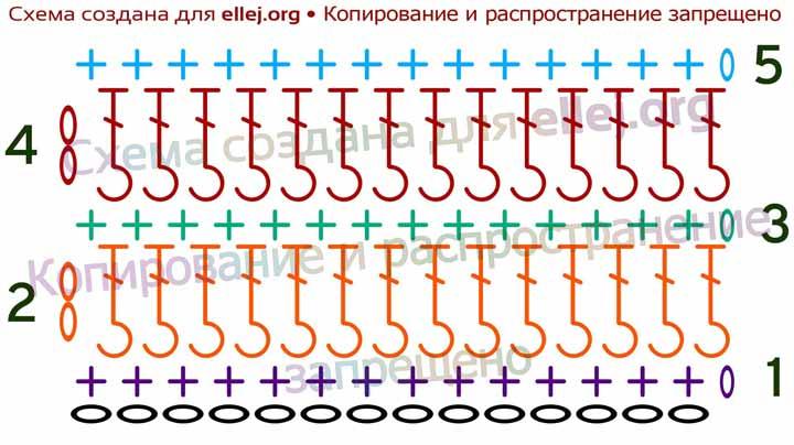 Схема простого узора с горизонтальными рельефными полосами