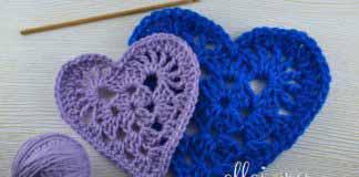 Crochet Granny Heart Motif