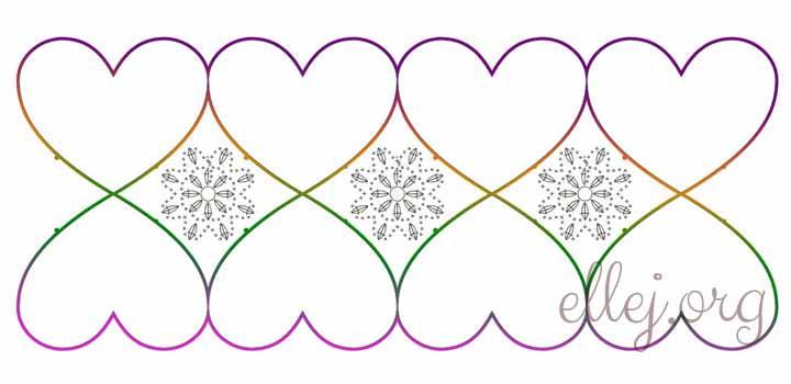 Как связать шарф из сердечек