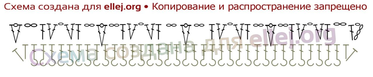 Схема распределения петель на переде топа