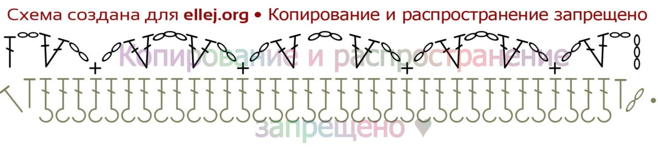 Схема вязания спинки топа