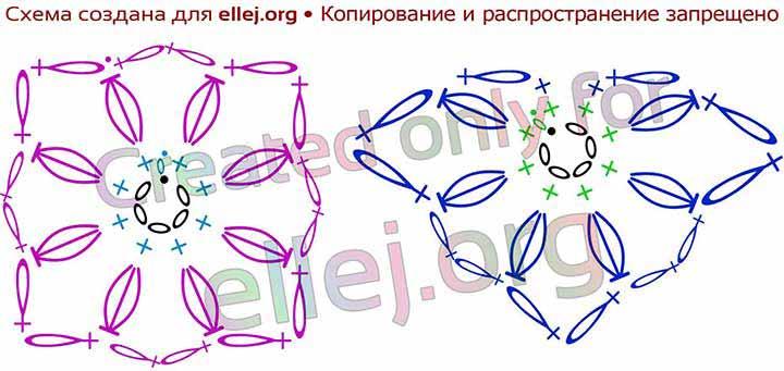 Схема вязания мотива и половинки мотива