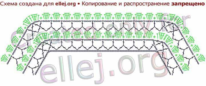 Схема вязания кокетки для топа