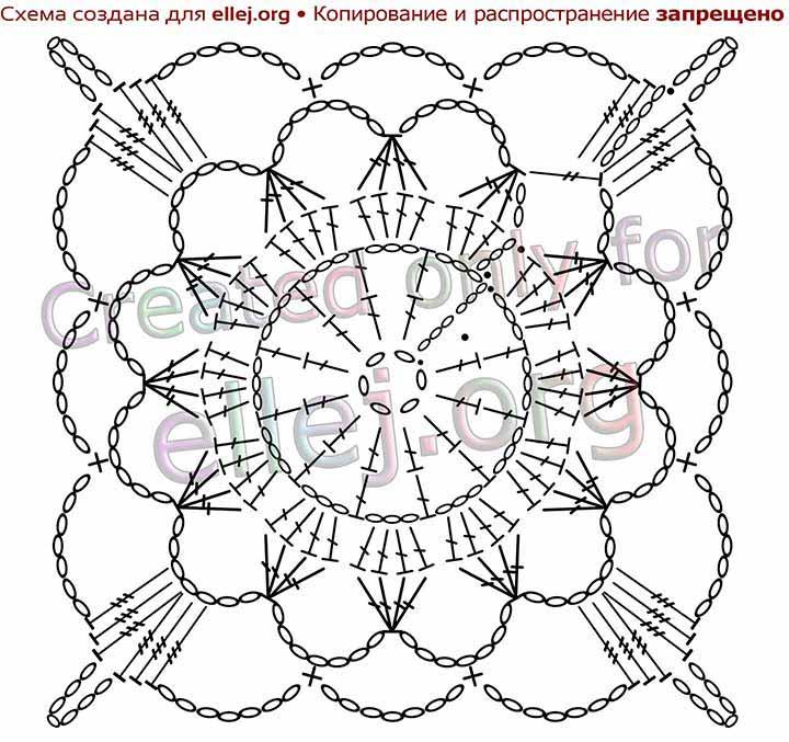 Схема вязания ажурного мотива