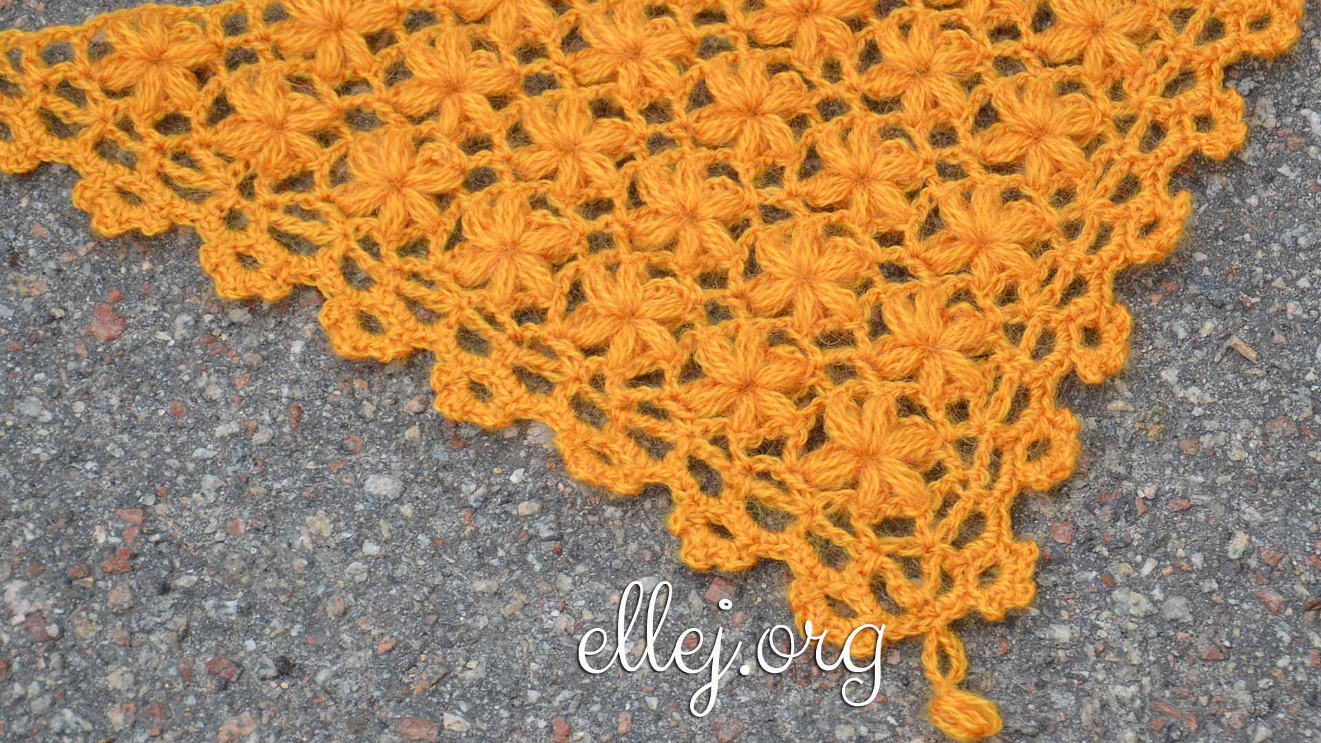 Узор для шали Цветы на филейной сетке