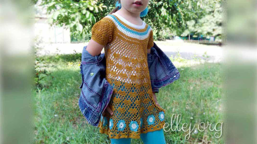 Ажурная горчично-голубая туника платье с мотивами крючком для девочки