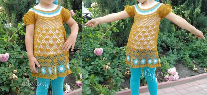 Туника крючком для девочки 4 лет. Описание вязания
