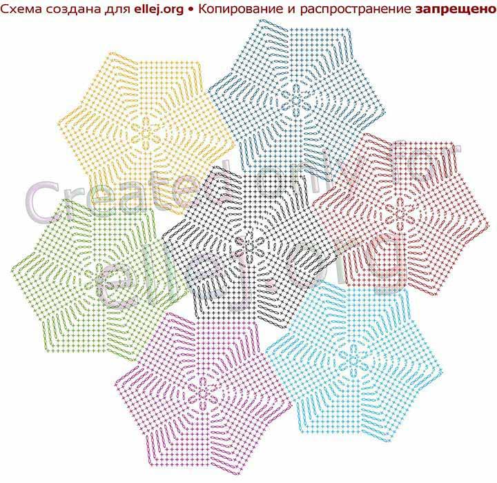 Схема соединения мотивов Мельница в полотно