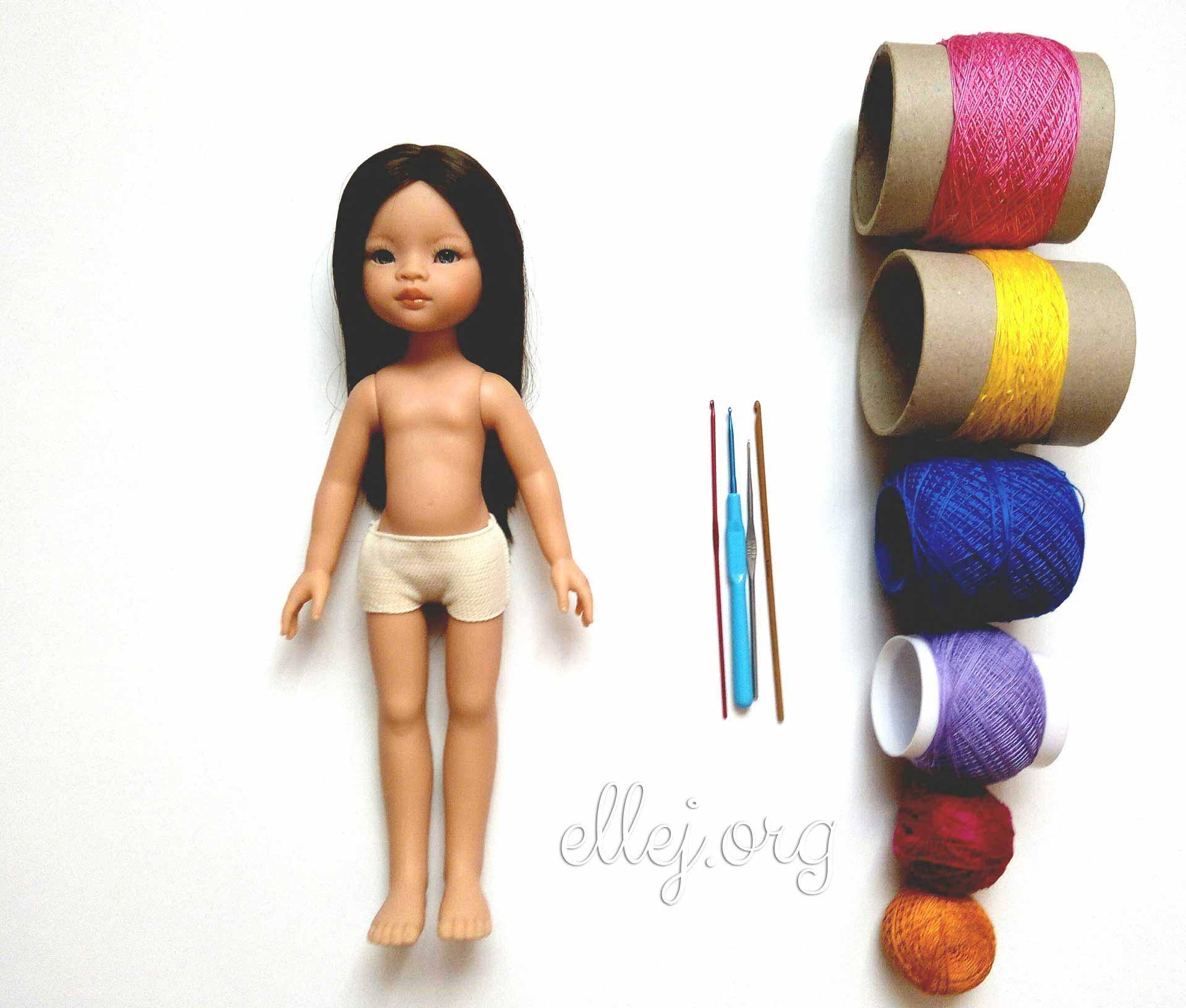 Кукла и пряжа для ручного вязания