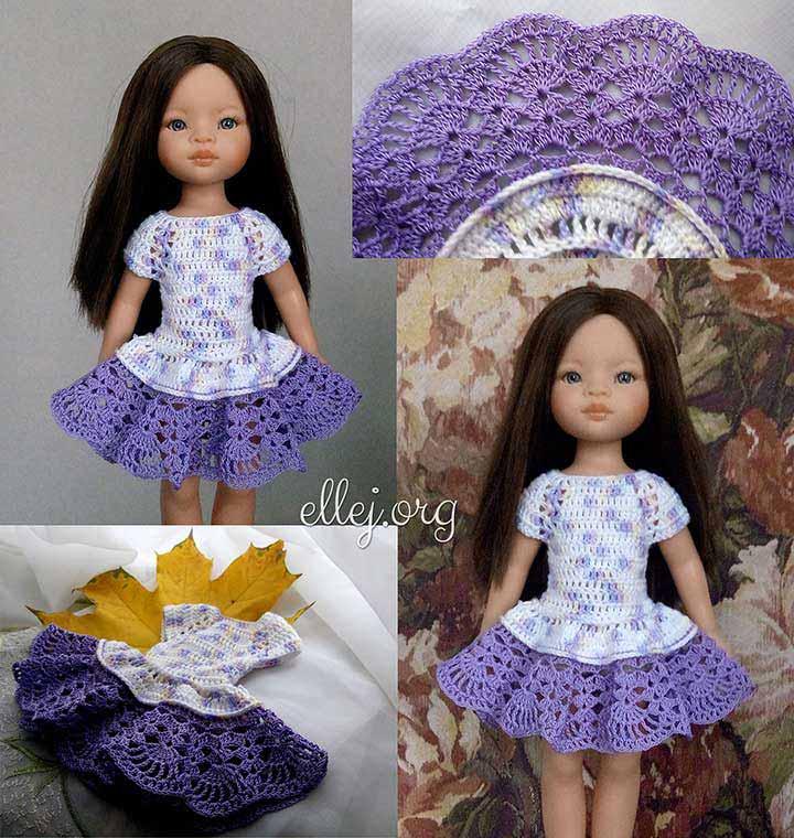 Сиреневое платье-реглан крючком для куклы Paola Reina