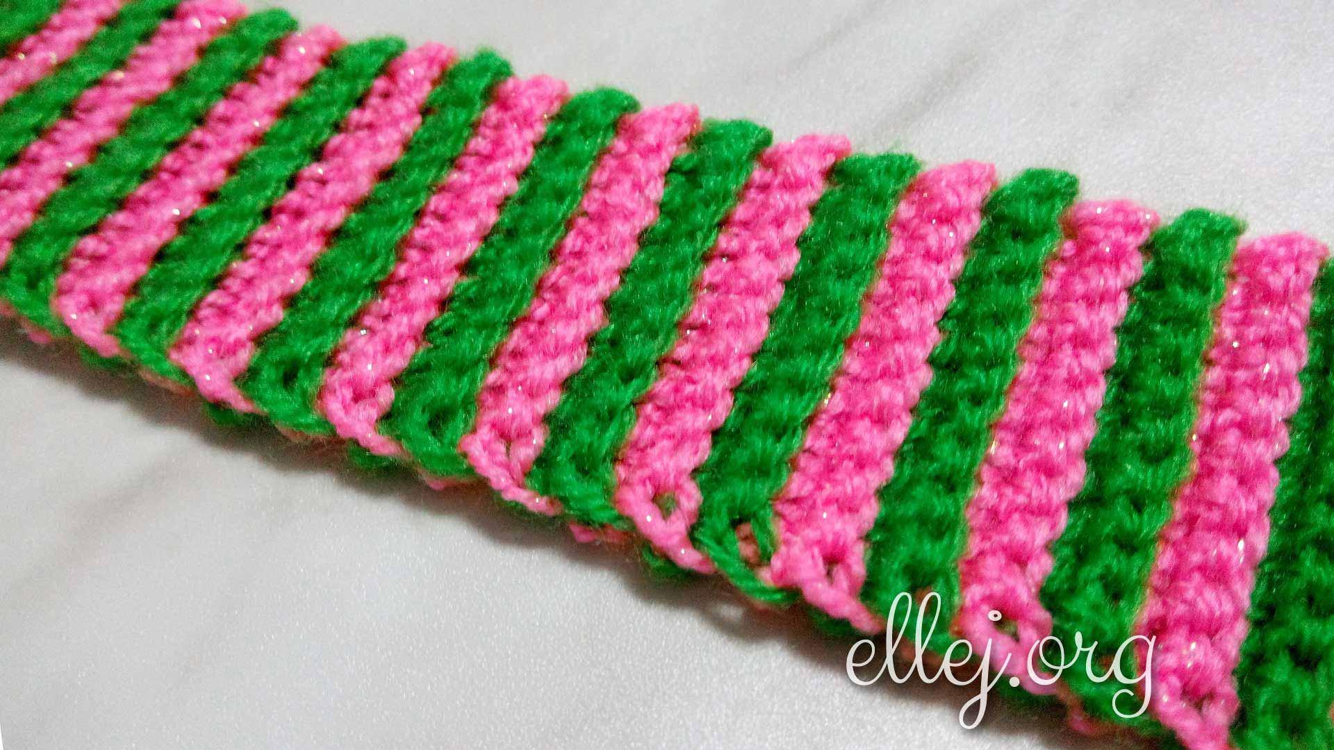 Двухцветная резинка крючком