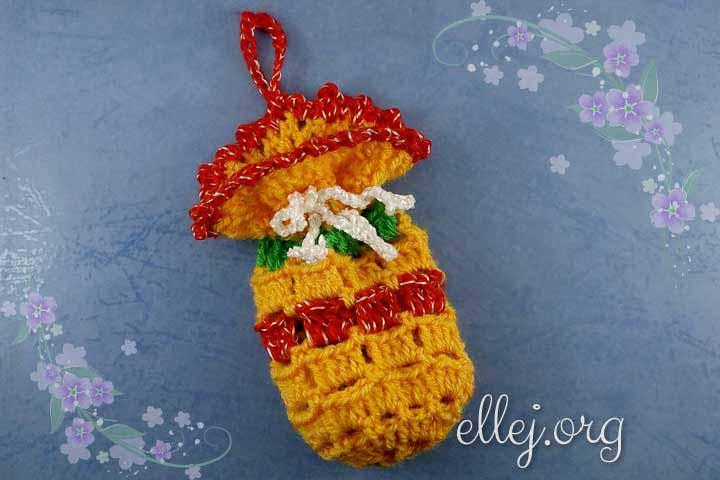 Сумочки-мешочки крючком для адвент-календаря