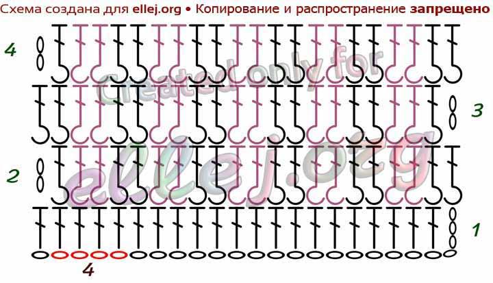Схема узора Шахматка крючком