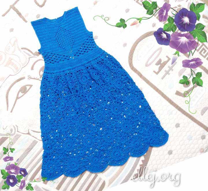 Синее Платье Крючком Ледяные Узоры
