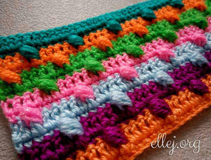 Разноцветный 3d узор крючком
