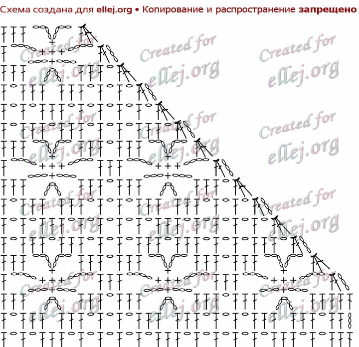 Схема убавлений в филейном вязании