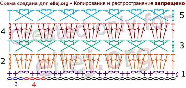 Схема вязания. Узор крючком со скрещенными столбиками 043