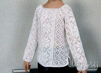 Белая сорочка крючком для девочки в филейной технике