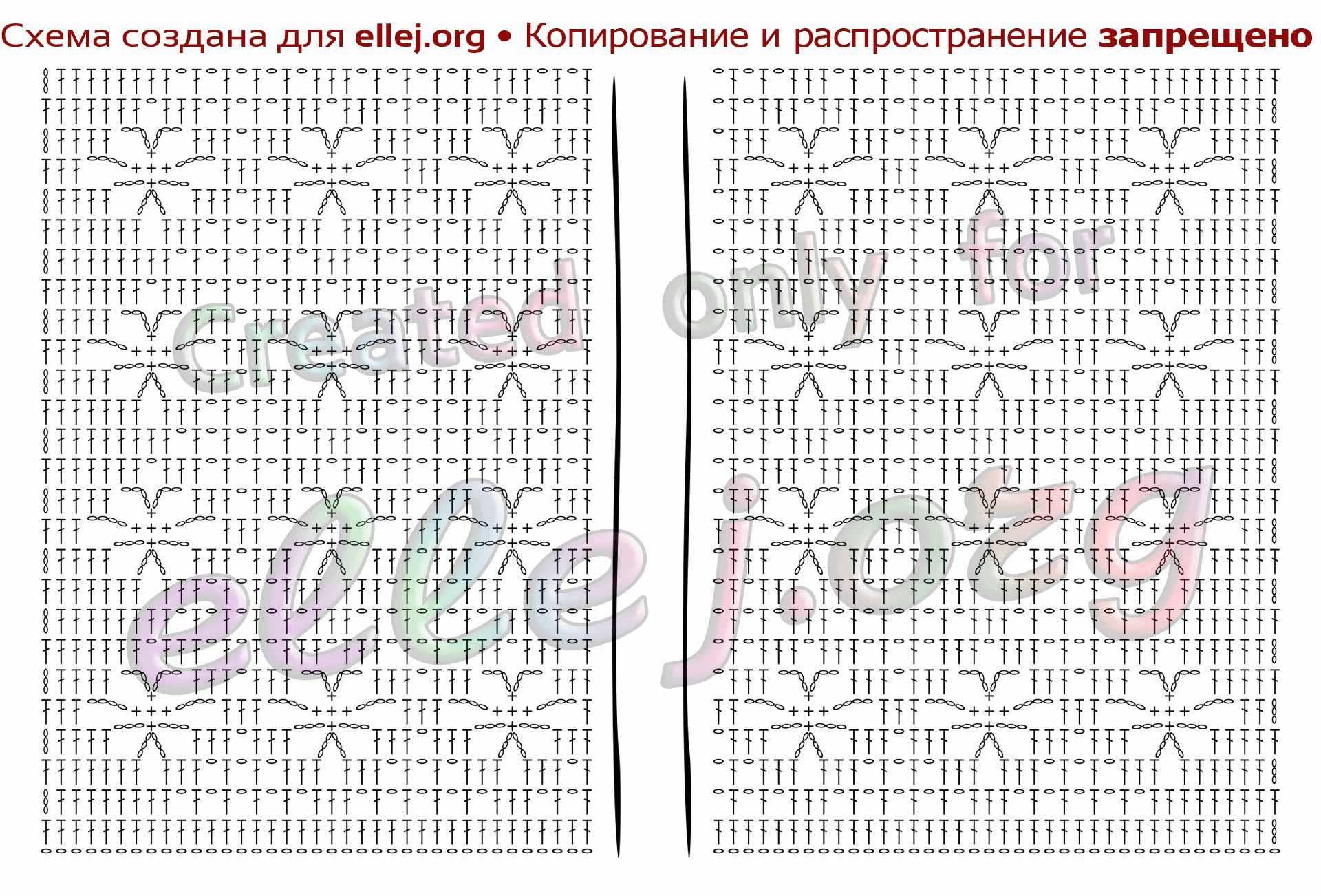 Схема филейного вязания спинки сорочки