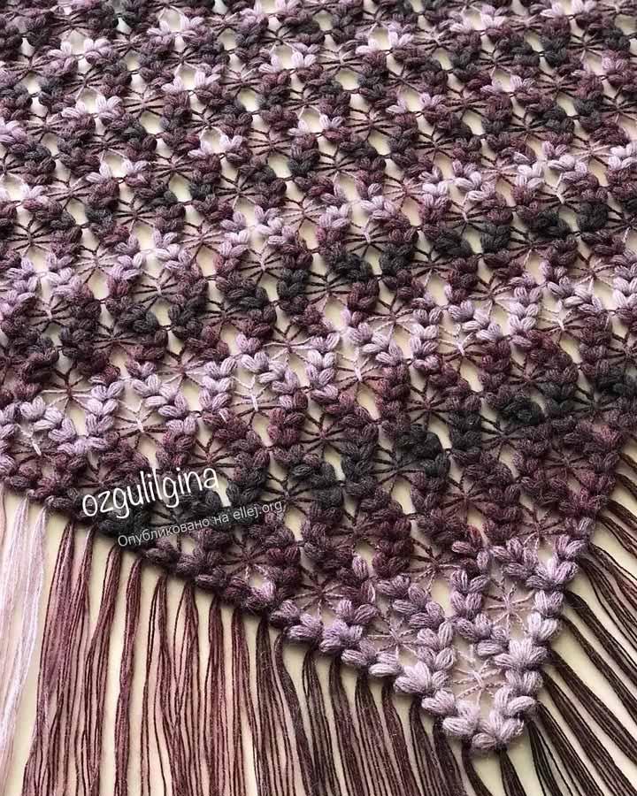 Puff spiders shawl by ozgulilgina. Шаль крючком с пышными косичками и паучками