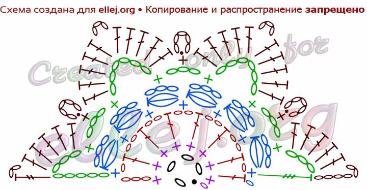Схема вязания половинки шестиугольного мотива для платья Вдохновение