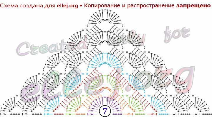 Схема вязания ажурного бактуса с рельевным узором