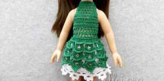 Зеленое пляжное платье для куклы Паола Рейна 32 см