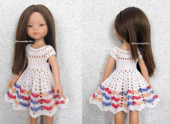 Цельное платье крючком для куклы