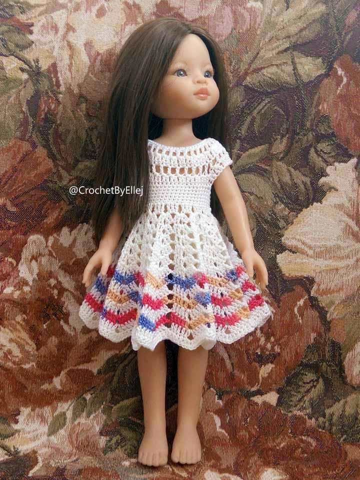Платье для куклы крючком Лилия