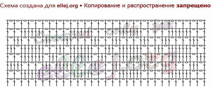 Схема вязания узкого филейного узора