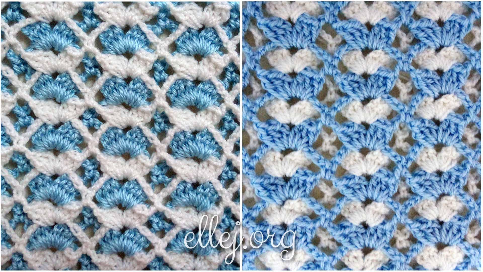Двухцветный бело-голубой узор для детского пледа