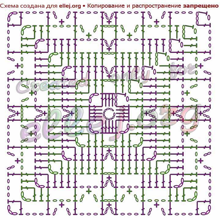 Схема квадратного мотива крючком для бохо жилета
