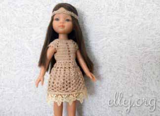 """Платье крючком """"Экрю"""" для куклы Паола Рейна. Мастер-класс"""