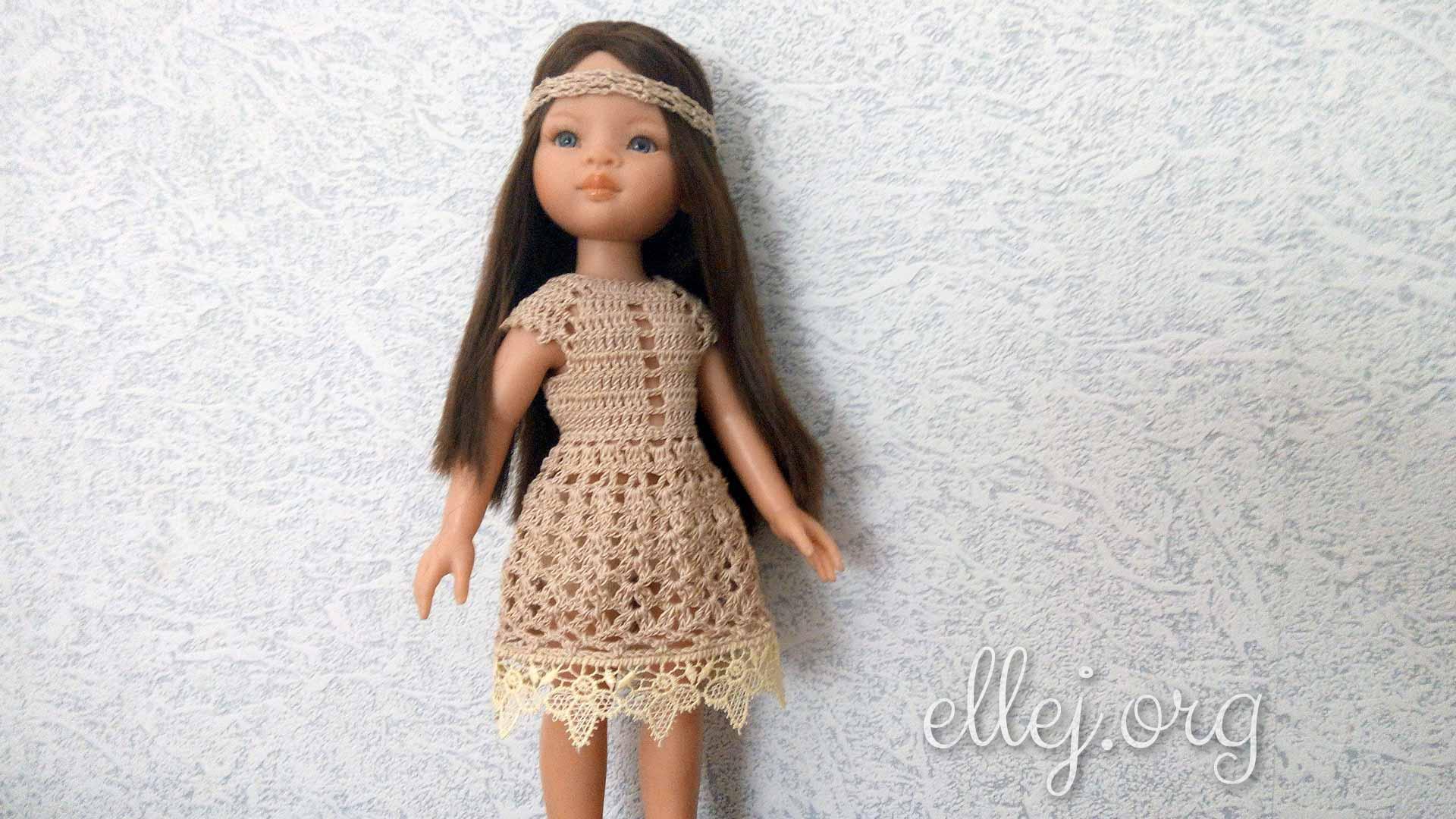 Платье «Экрю» с кружевом для куклы Паола Рейна