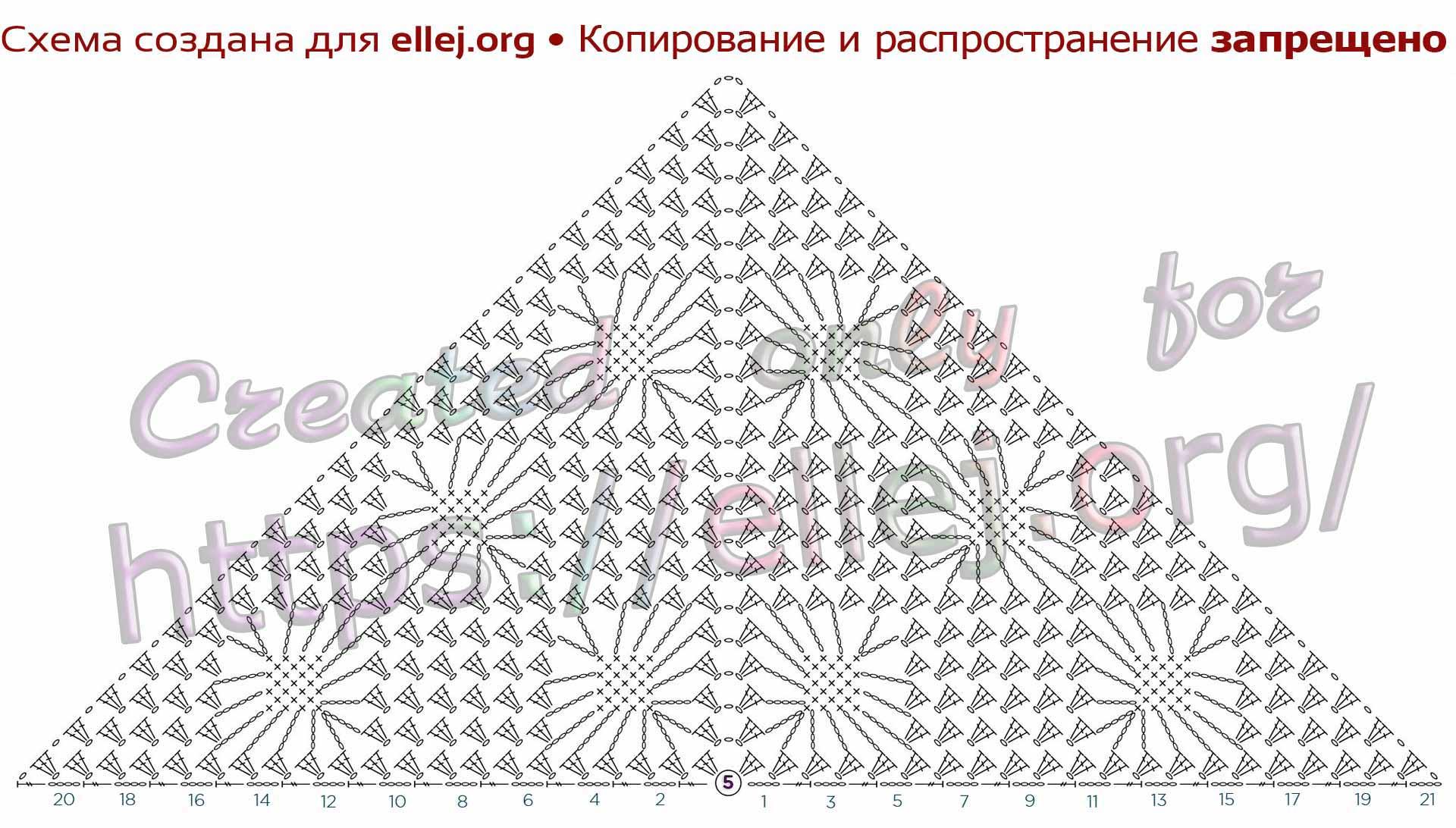 Схема узора для шали с паучками. Шаль Небо в алмазах