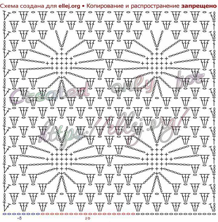 Схема узора с паучками для вязания крючком