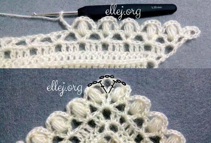 Шаль Небо в алмазах, процесс вязания. Ряд 2.