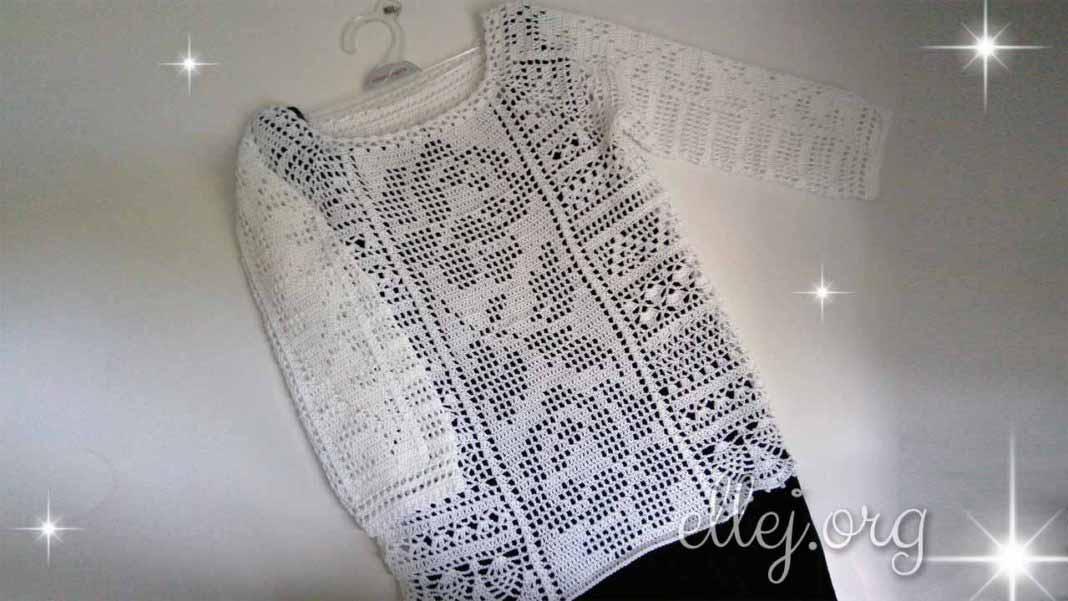 Филейная блуза крючком со вставкой с розами и укороченным рукавом